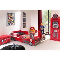 Ensemble 2 pièces pour chambre enfant avec lit camion pompier 70x140 cm, et  armoire 1 porte coloris rouge