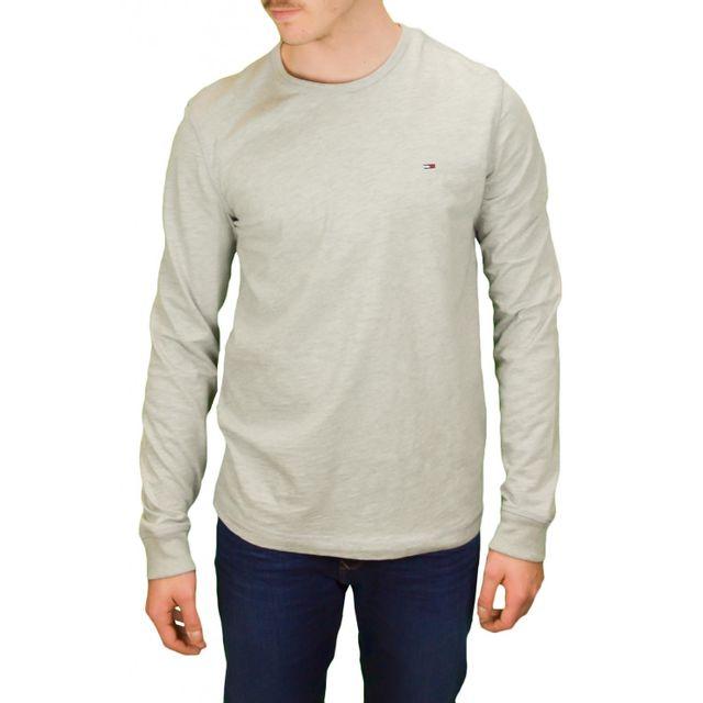 12eba02a80c53 Tommy hilfiger - T-shirt manches longues Tommy Hilfiger Dénim Trump gris  pour homme