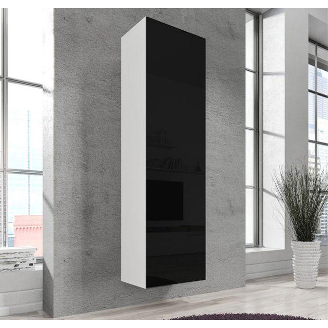 Design Ameublement Armoire mural modele Amalfi blanc et noir