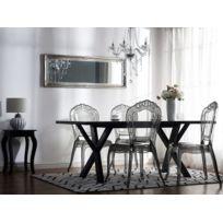 beliani lot de 2 chaises de salle manger noire transparente vermont - Chaise Salle A Manger Transparente