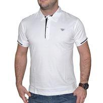 Armani - Jeans - Polo Manches Courtes - Homme - C6m15 Col Contrast - Blanc