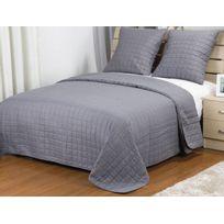 couvre lit gris achat couvre lit gris pas cher rue du. Black Bedroom Furniture Sets. Home Design Ideas
