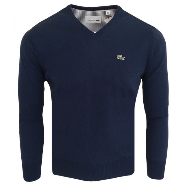 3a25b4eb8e Lacoste - Pull pour homme Pull col v 1896 bleu - pas cher Achat / Vente  Pull homme - RueDuCommerce