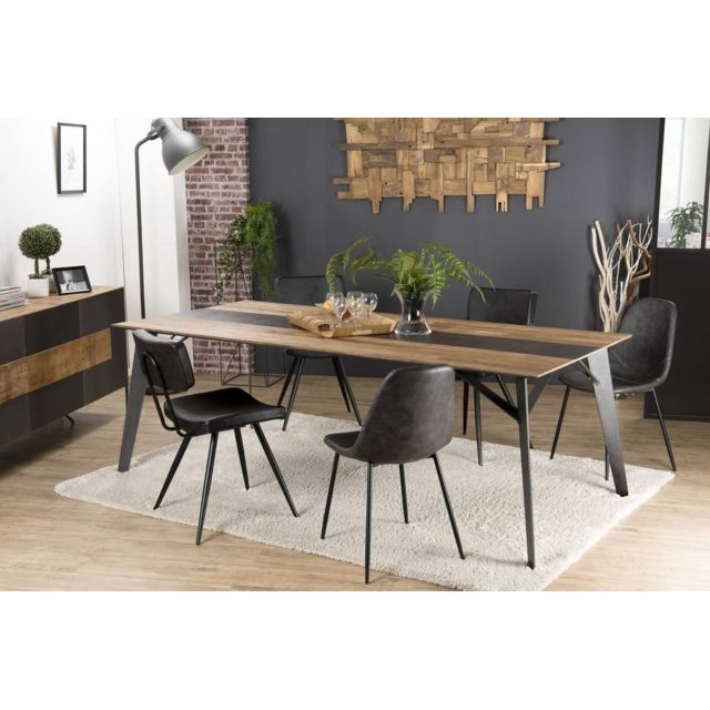 MACABANE Table à manger 220x100cm Teck recyclé métal et pieds métal