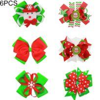 Cadeau De Noël Pour Fille.Décoration De Noël à Porter 6 Pcs Filles Papillon Noeud Cheveux Clip