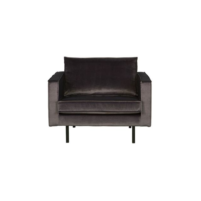 BEPUREHOME Fauteuil en velours gris anthracite – Collection Rodeo - Be Pure Home