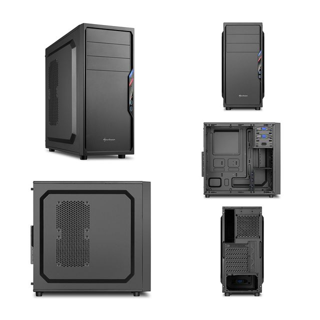 "Pack complet Pc de bureau Intel i5-7500 4x 3.40Ghz max 3.8Ghz Intel Hd Graphics 630, 8Go Ram Ddr4 2133Mhz, 250Go Ssd, 1To Hdd, Usb 3.0, Wifi. Unité centrale avec moniteur Tft-led 23.6"", clavier & souris small"