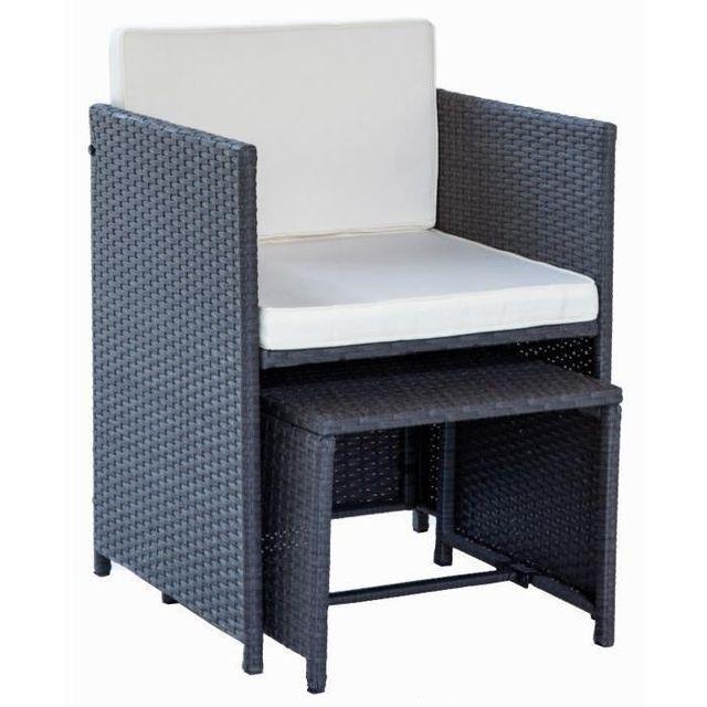 Beau Rivage - Salon de jardin Carioca 4 fauteuils et 2 poufs ...