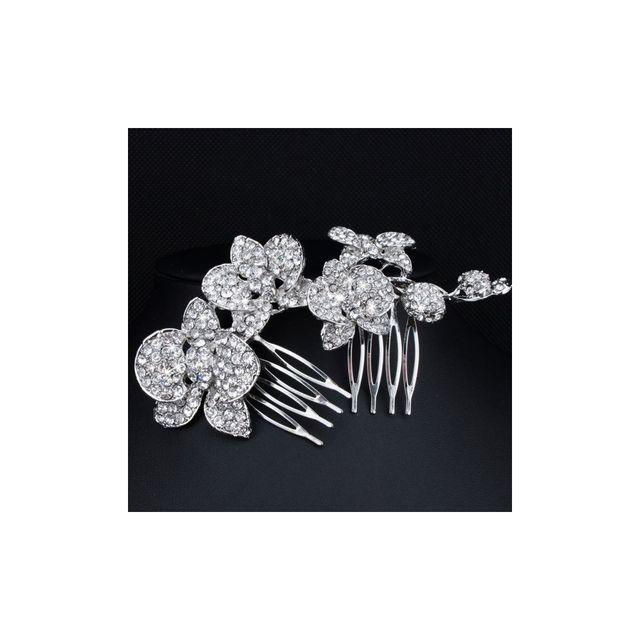 Blue Pearls - Accessoire de Mariage Peigne à Cheveux Fleurs en Cristal Blanc - Mar 004 Z