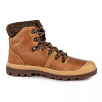 Palladium - Bottines montantes en cuir homme Pallabrouse Hiker Amber Gold 45bc6dfbfaf