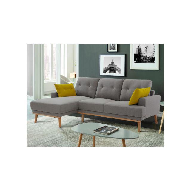 Canapé d'angle RAOUT en tissu - Gris - Angle gauche