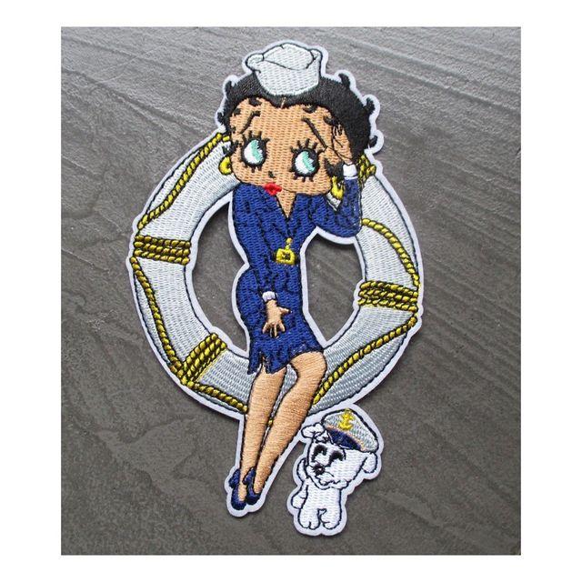Universel Patch betty boop robe de marin bleu boué chien écusson