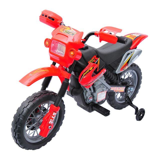 Moto Cross électrique Enfants à Partir De 3 Ans 6 V Phares Klaxon Musiques 102 X 53 X 66 Cm Rouge Et Noir