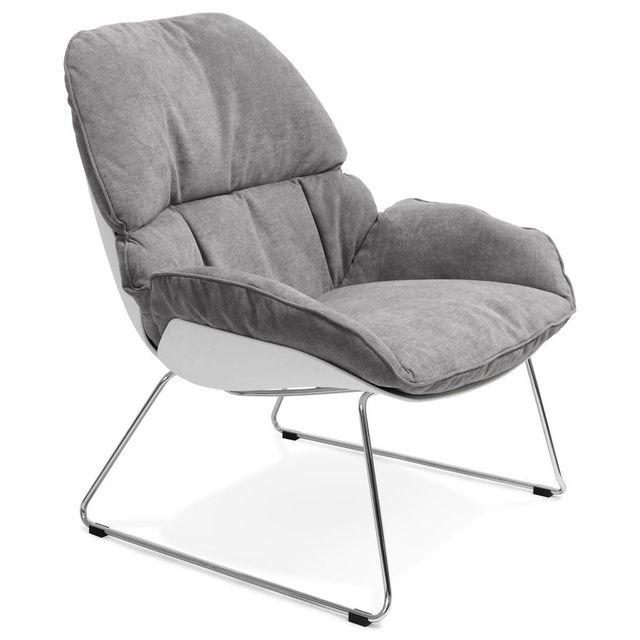 Alterego Fauteuil lounge design 'STARTUP' gris clair en tissu