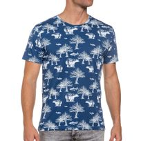 French Kick - Tee-shirt bleu imprimé nature blanc homme