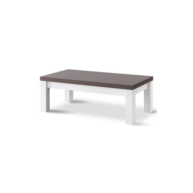Decodesign Table Basse Venezia Laquee Blanc/GRISE