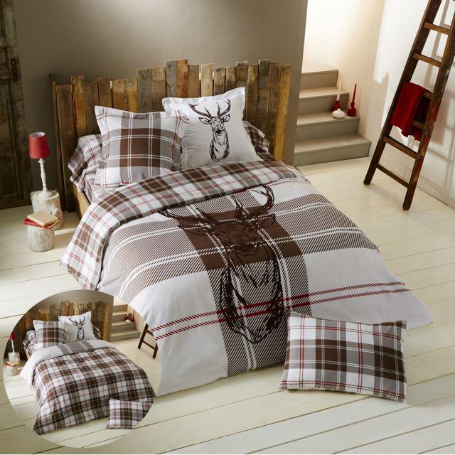 cotonflor housse de couette montana en coton marron 260 x 240 cm pas cher achat vente. Black Bedroom Furniture Sets. Home Design Ideas