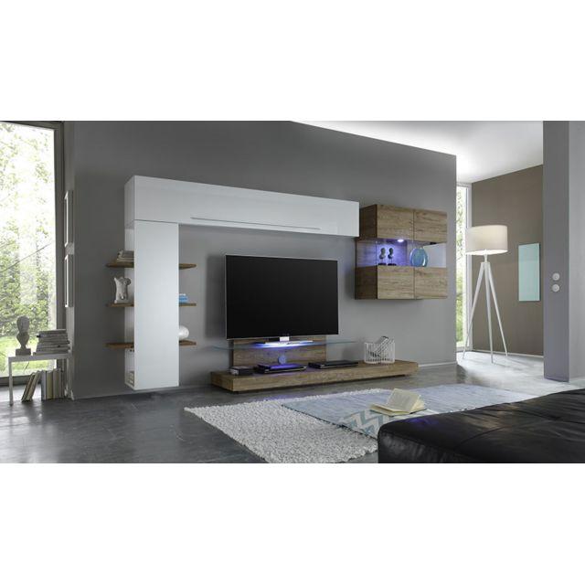 Sofamobili Ensemble meuble Tv blanc laqué et chêne avec éclairage Led en option contemporain Sete