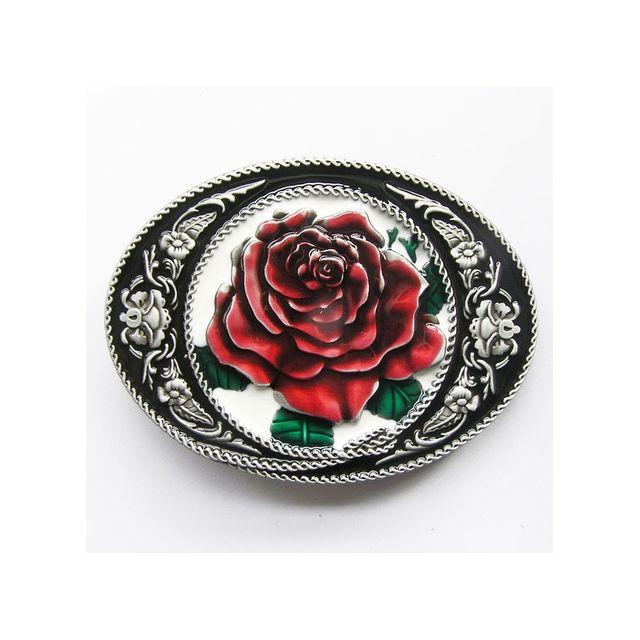 Universel Boucle de ceinture fleurs roses rouge ovale femme mode