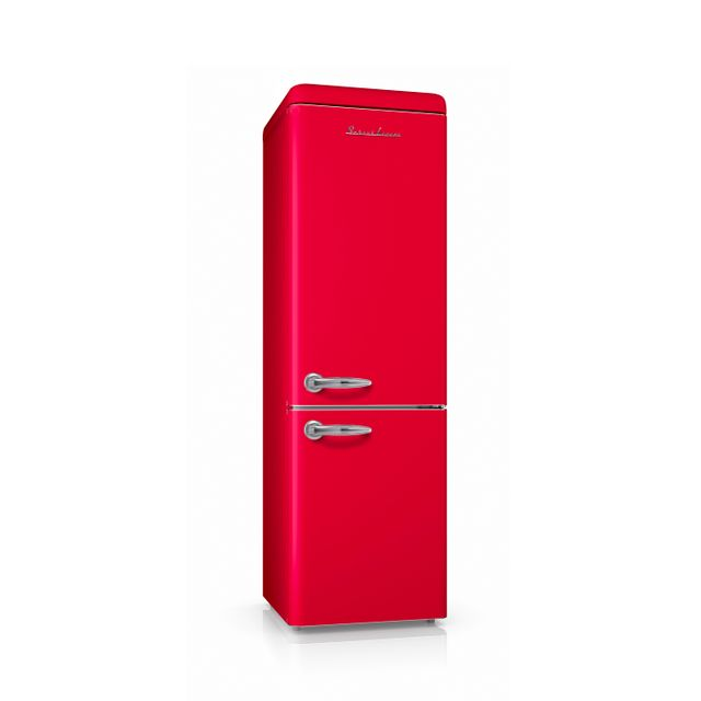 Schaub Lorenz Sl250CBR Réfrigérateur combiné inversé Vintage 250 Litres 178 litres + 72 Litres coloris rouge - A