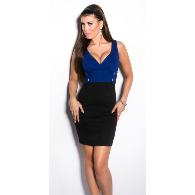 cd0eb5466f61ce Koucla - Robe droite moulante bi couleur sexy bleu noir soirée - pas ...