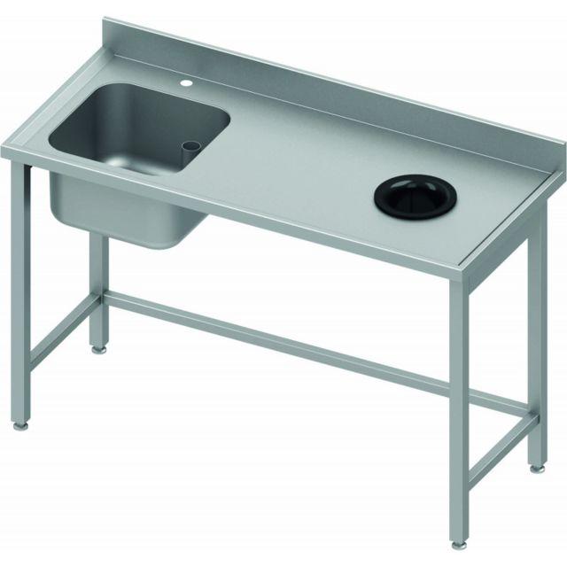 Materiel Chr Pro Table de Chef Inox Avec Dosseret & Bac à Gauche - Profondeur 800 - Stalgast - inox 1000x800 800