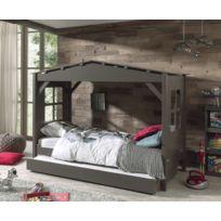 Modern Life - Lit cabane taupe avec tiroir gigogne