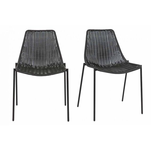 Miliboo chaise design rotin synthétique noir lot de 2 intérieur extérieur izis