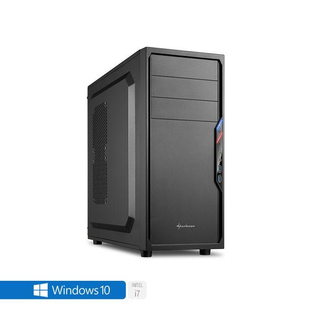 Pc de bureau Intel i7-7700 4x 3.60Ghz max 4.2Ghz Intel Hd- Graphics 630, 8 Go Ram Ddr4 2133Mhz, 250 Go Ssd, 1 To Hdd, Usb 3.0, Wifi, Full Hd 1080p, Alim 80+. Unité centrale avec Windows 10 small