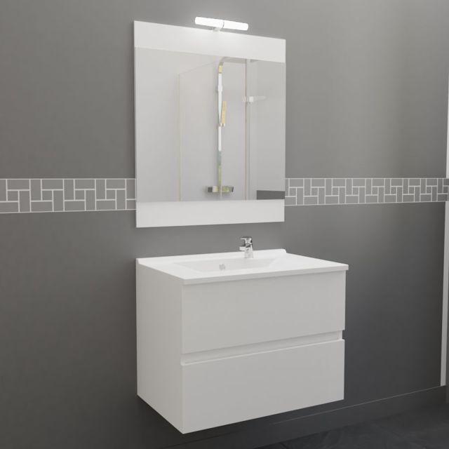 Creazur meuble salle de bain simple vasque rosaly 70 blanc brillant pas cher achat vente - Meuble salle de bain rue du commerce ...