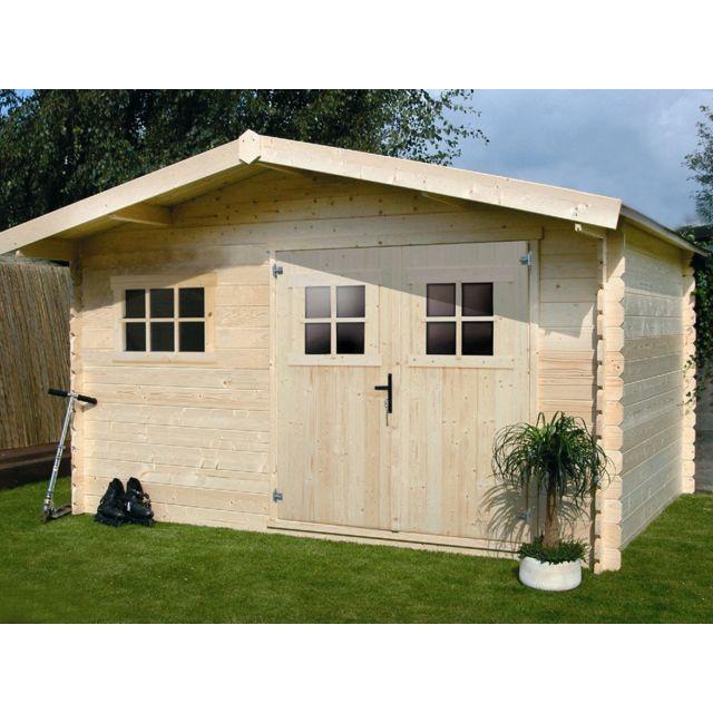 abri de jardin en bois monopente HABITAT ET JARDIN - Abri jardin bois - 19,72 m² - 4.64 x 4.25 x 2,32 m - 28  mm