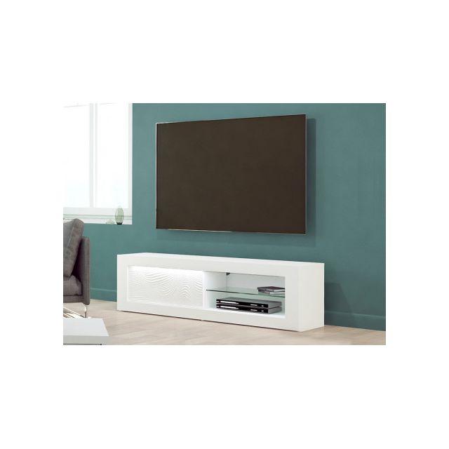 Meuble TV ECLIPSE - LEDs - MDF Blanc laqué - 1 porte & 2 niches