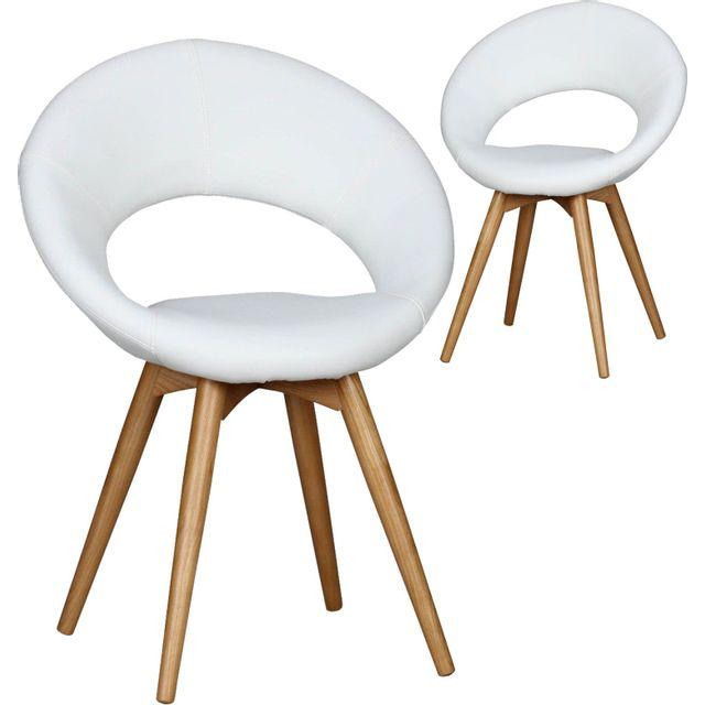 Comforium Lot de 2 Chaises design scandinave en bois et simili cuir coloris blanc