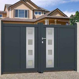 bekaline portail alu 2 battants emalu phoenix droit plein ral7016 pas cher. Black Bedroom Furniture Sets. Home Design Ideas