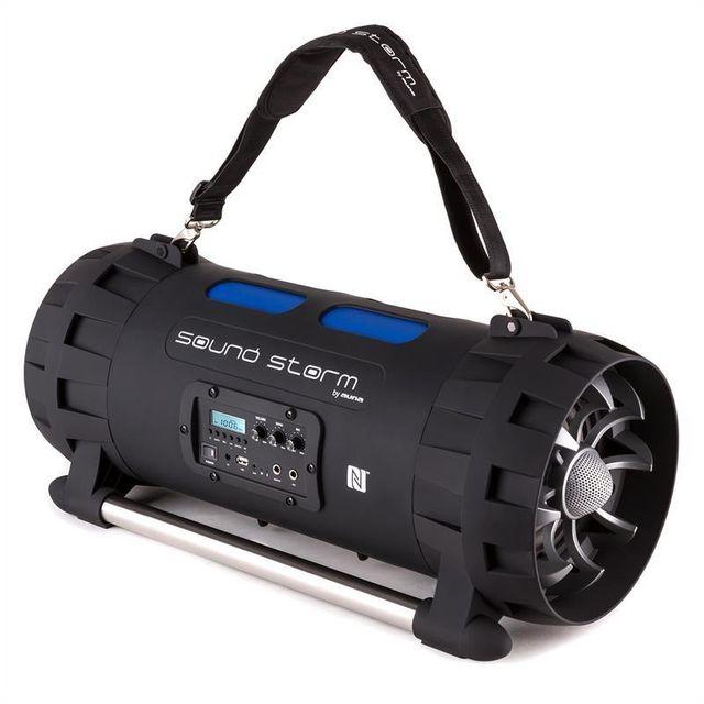 AUNA Soundstorm Enceinte Bluetooth NFC USB AUX batterie karaoke LED