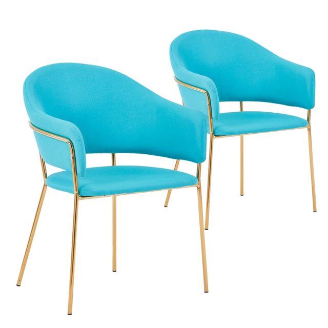Lot de 2 chaises fauteuils Ulrick Tissu Bleu