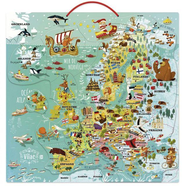 Carte De Leurope Jeux Educatifs.Vilac Carte D Europe Magnetique Pas Cher Achat Vente Jeux