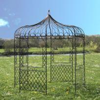 Gloriette Tonnelle en Fer de Jardin Ronde Marron Pergola ø250 cm