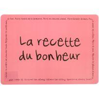 Promobo - Set de table Tag Humour Bande dessinée Recette du Bonheur rose