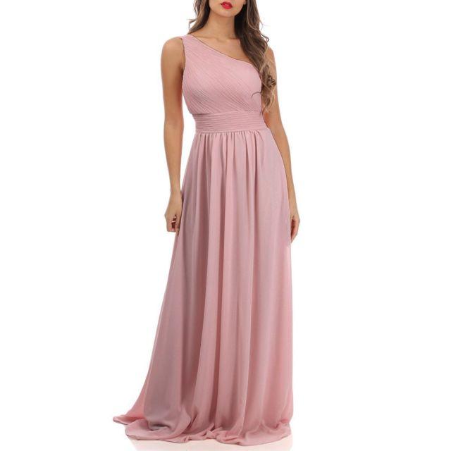 LAMODEUSE Robe longue vieux rose drapée à épaules asymétriques