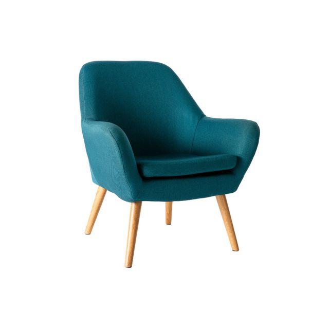 Miliboo Fauteuil design bleu pétrole Mira