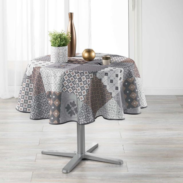 180 CM POLYESTER IMPRIME VICTORY BLANC NAPPE RONDE