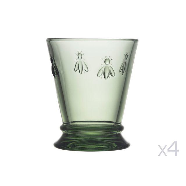 La Rochere Gobelet à eau en verre pressé - 27 cl - Lot de 4 Abeille