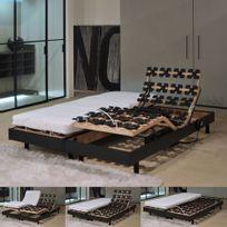 No Name - Ensemble 2 sommiers relaxation électrique 80X200 Flexpalace + 2 matelas mémoire de forme/ Noir