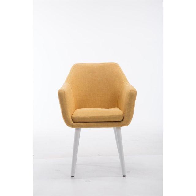 Moderne Chaise de conférence Siège visiteur Djouba en tissu blanc