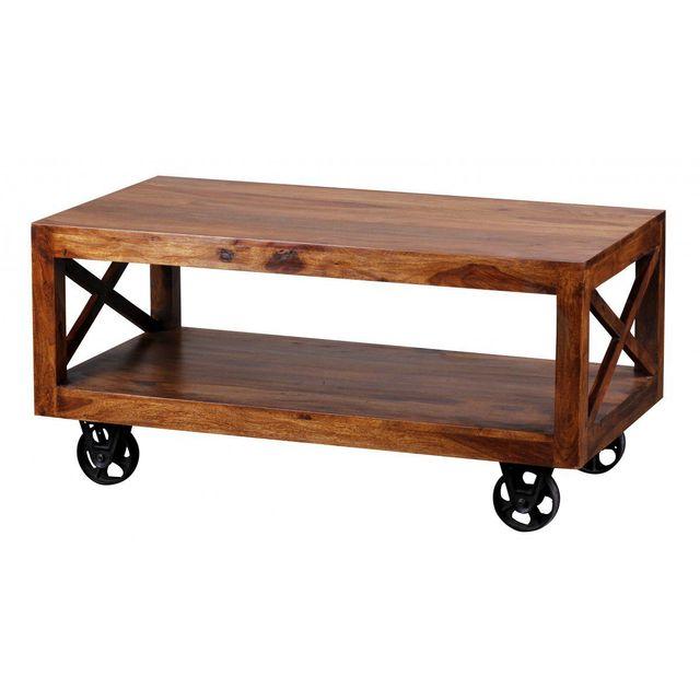 COMFORIUM Table basse à roulettes 110 cm en bois massif sheesham