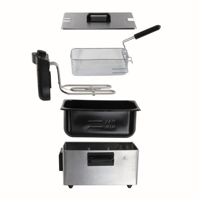 DOMOCLIP Friteuse 3 L DOC197 Friteuse - Corps en acier inoxydable chromé - Capacité de 3 L - Jusqu'à 0,8 kg de frites - Thermostat réglable jusqu'à 190° C - Poignées thermo-isolantes - Témoins lumineux