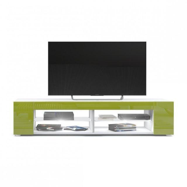 Mpc Meuble Tv blanc mat Façades en vert clair laquées led Blanc