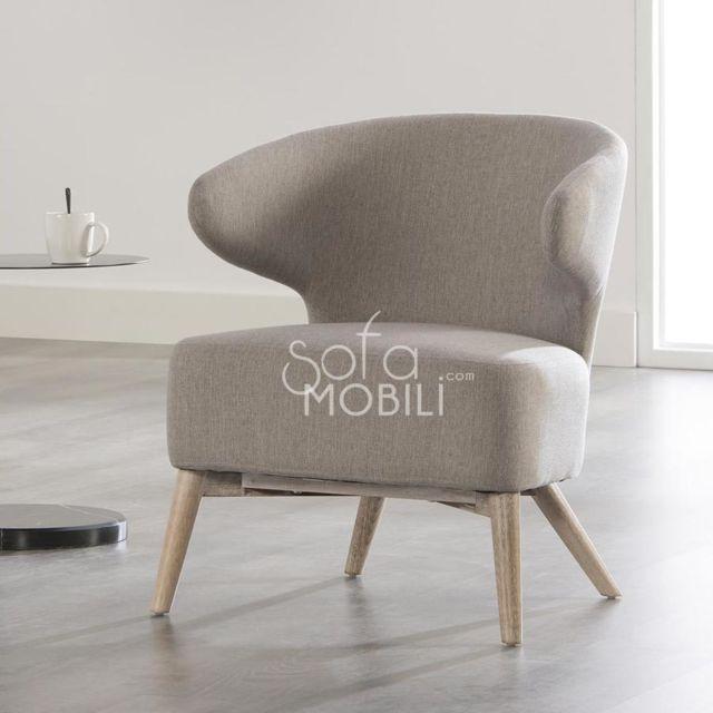 Sofamobili Fauteuil design gris Bilbo 2