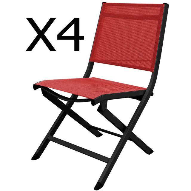 Fantastique PEGANE - Lot de 4 chaises pliantes de jardin en aluminium et GC-93